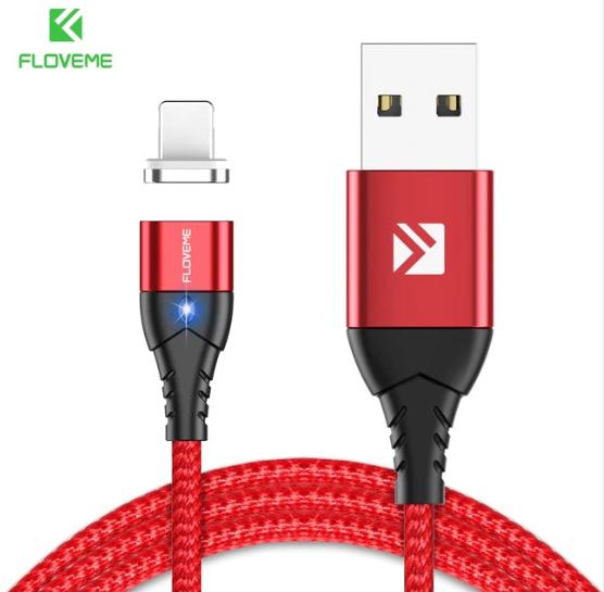 FLOVEME Магнитный кабель usb Lightning быстрая зарядка 3А для iOS Apple iPhone для зарядки Цвет красный