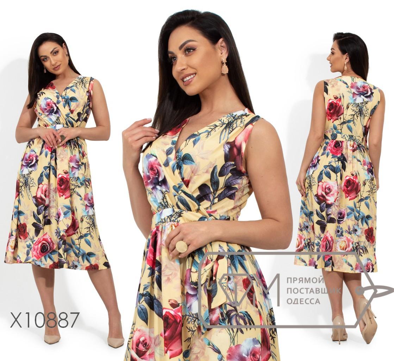 Платье-миди на запах с цветочным принтом и закругленным подолом X10887