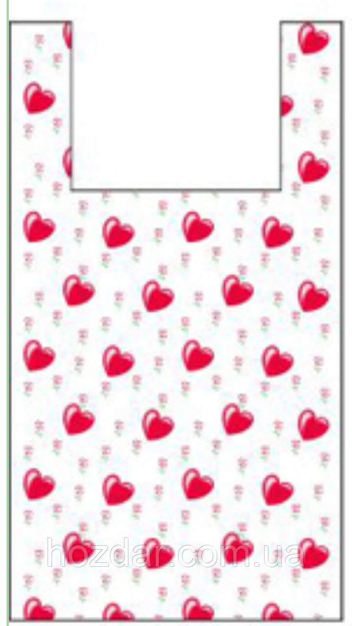 "Пакет майка с рисунком ""Сердца"" 25х45 100шт."