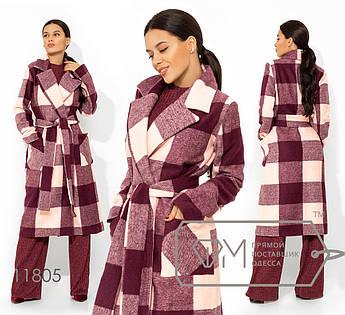 Пальто прямое на запах из кашемира с шерстью под пояс с отложным воротником на лацканах 11805