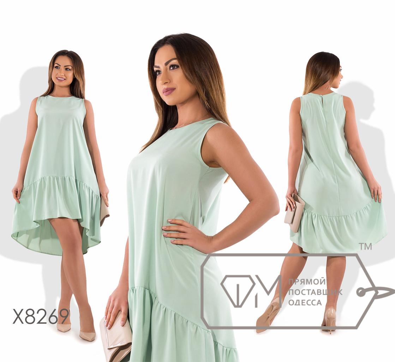 Платье-трапеция мини-миди из вискозы без рукавов с вырезом под шею и асимметричным подолом с широкой оборкой X8269
