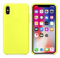 Силиконовый чехол накладка с оригинальным логотипом Apple Silicone Case для iPhone XS Max Жёлтый Flash Yellow