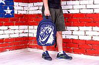 Рюкзак городской молодежный спортивный Nike с белым принтом, цвет синий