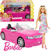 Кабріолет Барбі + лялька Barbie (Гламурный кабриолет Барби, Машина Барби Mattel, )