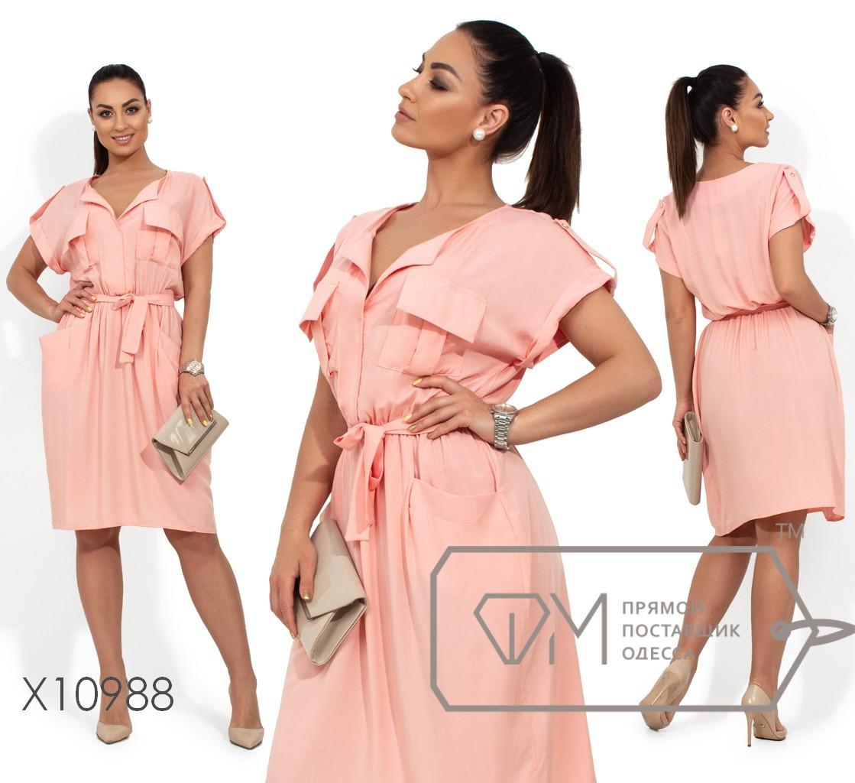 Платье миди из штапеля, прямое в стиле сафари с карманами и резинкой на талии под пояс X10988
