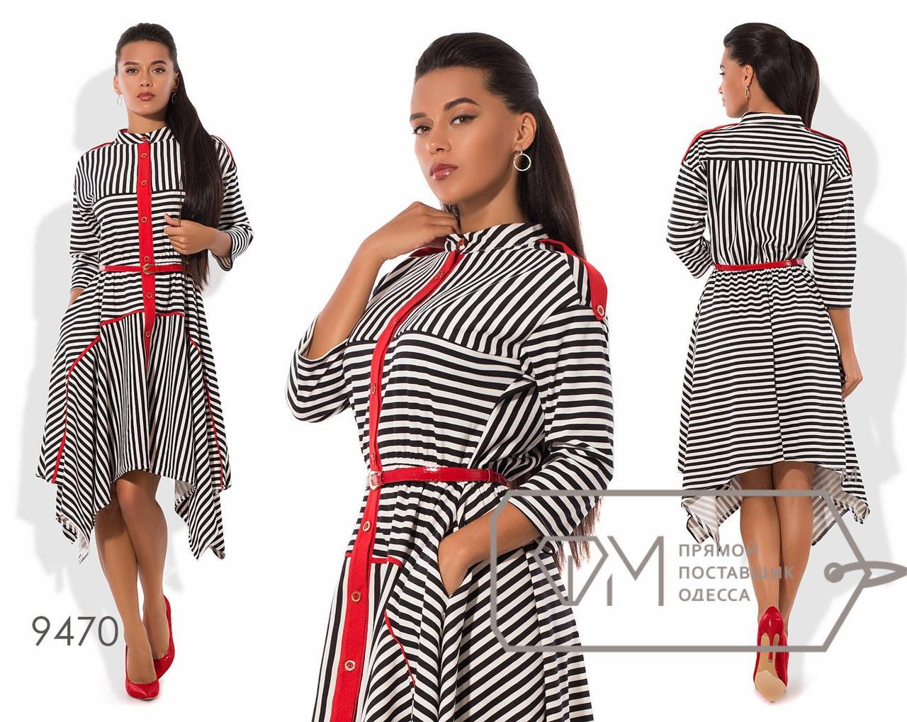 Платье-рубашка А-покроя из франц.трикотажа с разноуровневым подолом, яркой планкой, погонами и поясом 9470