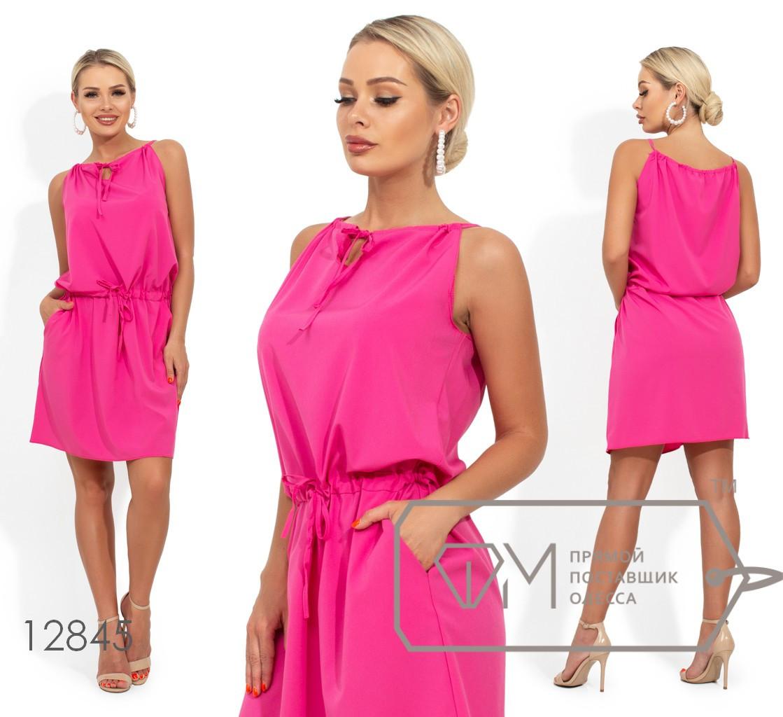 Платье на завязках с кулиской по талии и боковыми карманами 12845