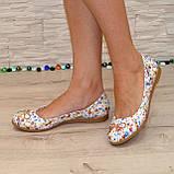 Женские туфли, из натуральной кожи с цветочным принтом, на низком ходу, фото 2
