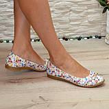 Женские туфли, из натуральной кожи с цветочным принтом, на низком ходу, фото 3