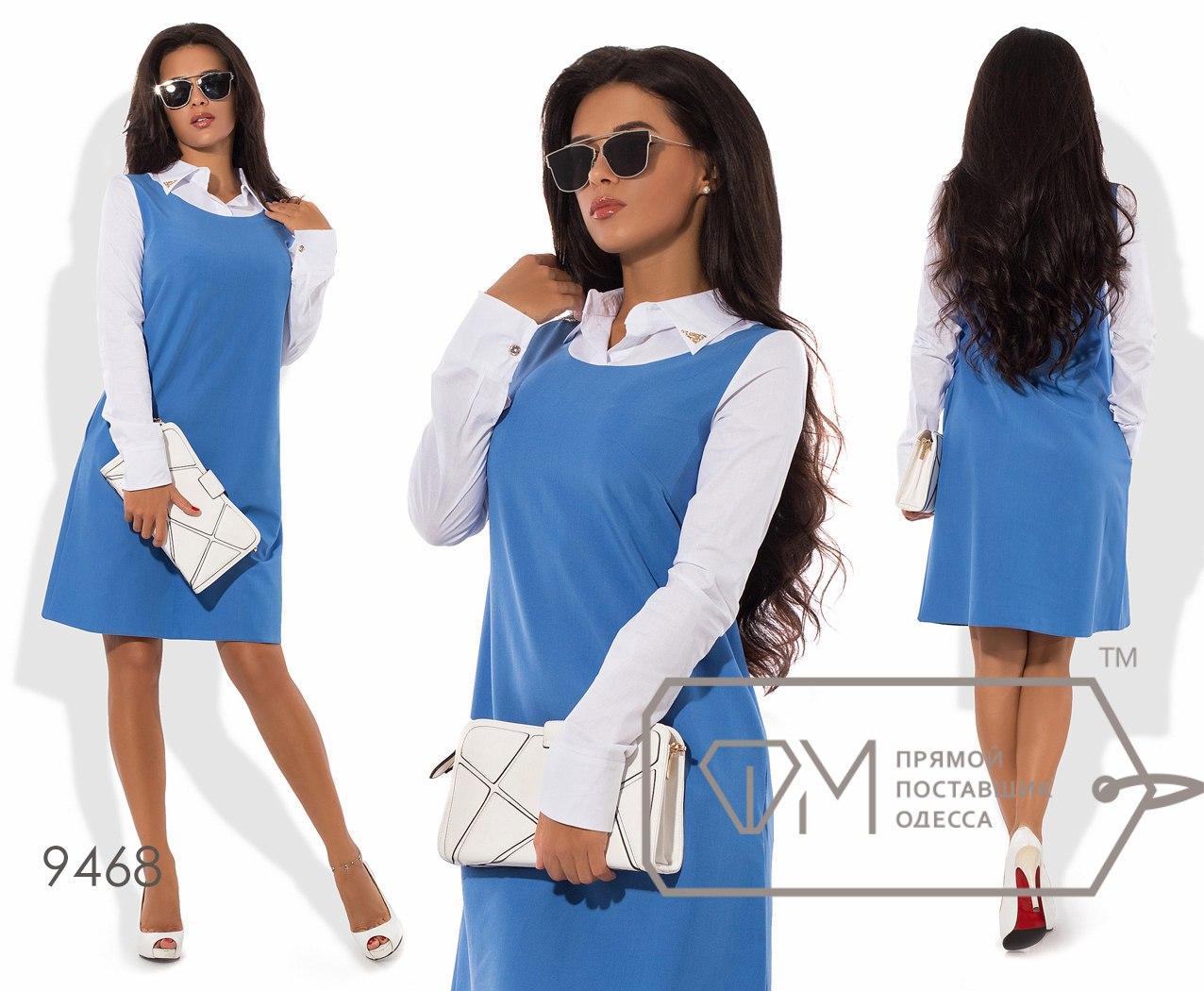 Платье-трапеция мини двухцветное из тиара с длинными рукавами на манжетах и воротничком-поло из коттона 9468