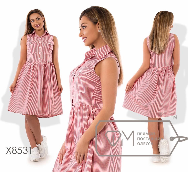 Платье миди из коттона без рукавов с пуговками вдоль лифа нагрудными карманами и юбкой солнце-клеш X8531