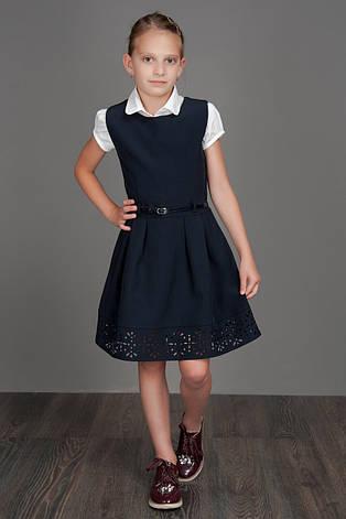 Детский школьный модный сарафан с перфорацией, р.116-134, фото 2