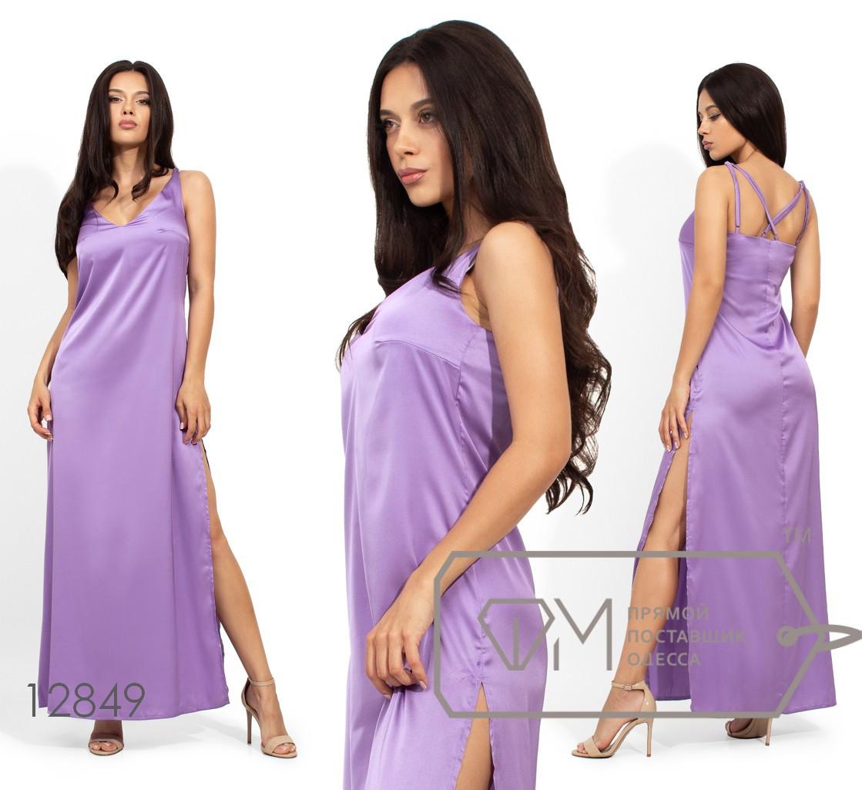 Шелковое длинное платье на бретелях с высоким боковым разрезом 12849