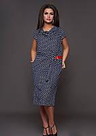 / Размер 48,50,52,54,56,58,60,62 / Женское платье в горох больших размеров 30535