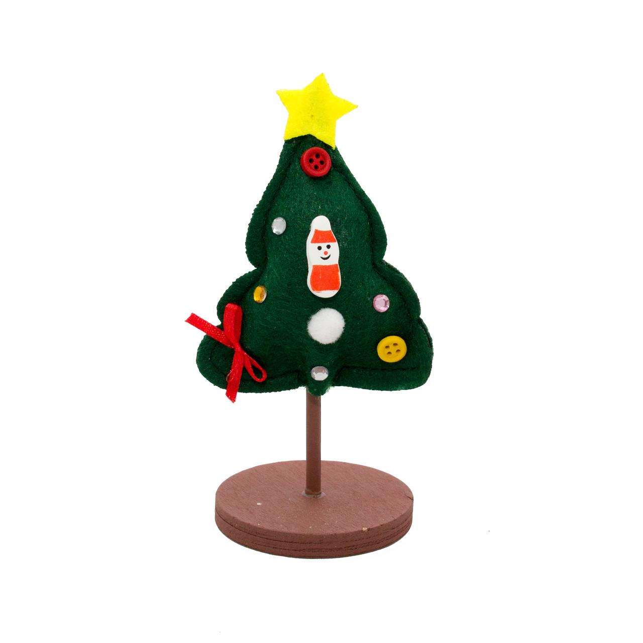 Новогодний декор Елка из войлока на деревянной подставке, (060481)