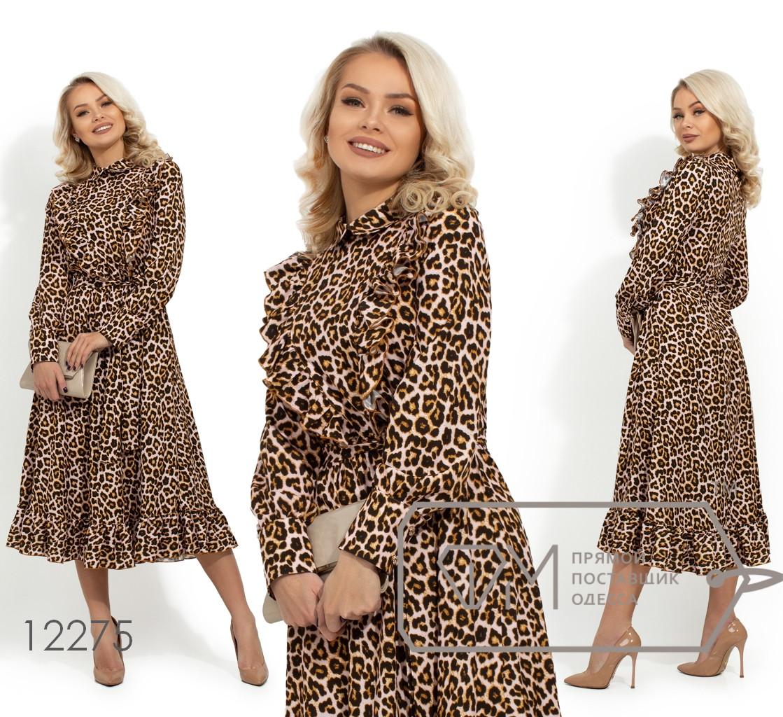 Длинное леопардовое платье из софта с воротником стойка, рюшами вдоль лифа и съемным поясом 12275