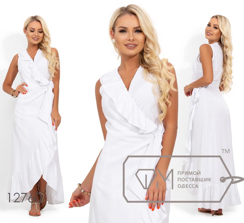 Платье из льна на запах с оборкой 12760