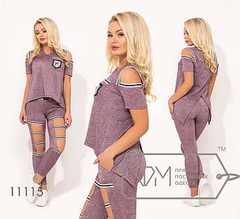 Костюм-двойка из трикотажа-люрекс кофта с короткими рукавами, разрезами на плечах и эффектом асимметричого запаха на спине, брюки-укороченные 11115