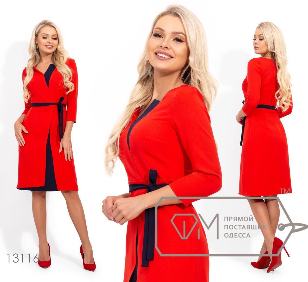 Платье полуприталенного кроя с рукавами 3/4, контрастными вставками и поясом в шлевках по отрезной талии 13116