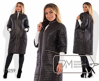 Пальто-кокон из стёганой плащёвки на синтепоне с рукавами 3/4, воротом-стойкой, молнией по всей длине и накладными карманами X7259