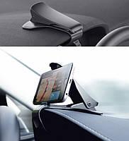 Універсальний автомобільний тримач затиск для мобільних пристроїв на козирок панелі приладів, чорний колір, фото 1