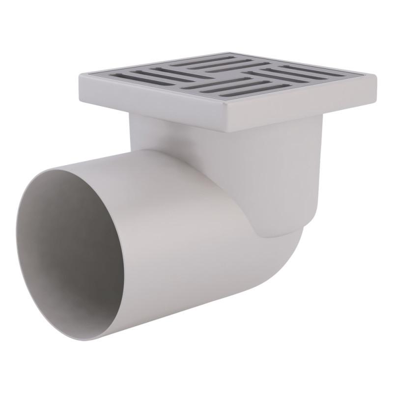 Трап ANI Plast TA1112 горизонтальный, выпуск 110 мм с нержавеющей решеткой 15x15 см
