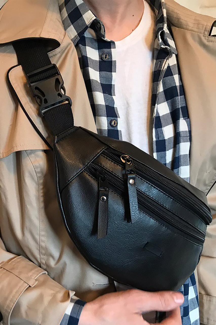 Черная поясная сумка бананка из кожзама