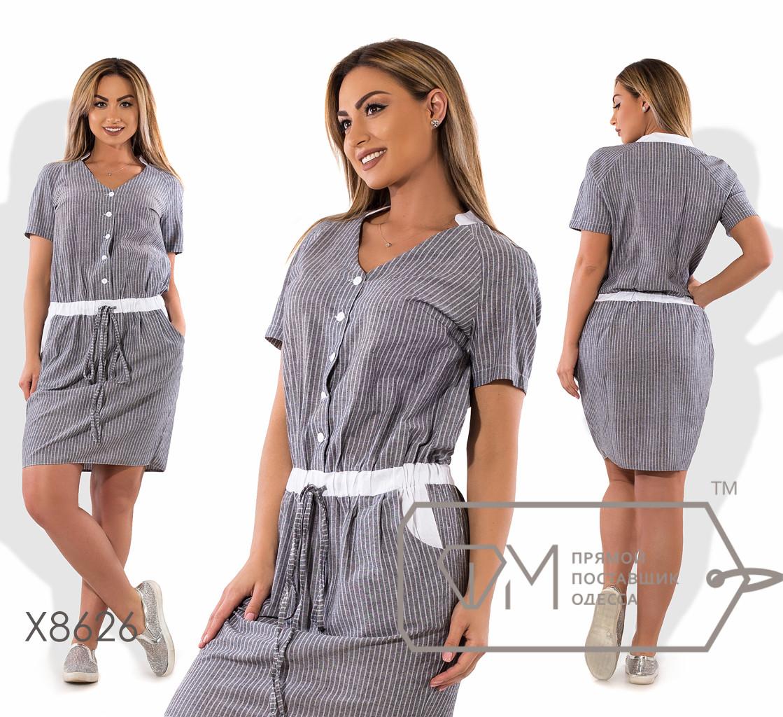 Платье мини прямое из льна с V-образным вырезом со стойкой, лифом на пуговицах и кулиской на поясе X8626