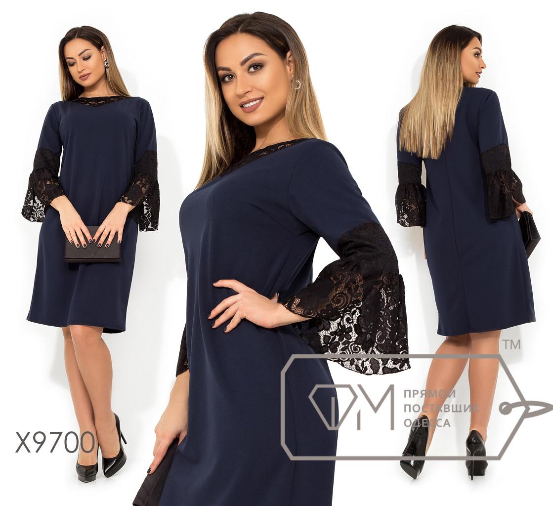 Платье прямого кроя из креп дайвинга с гипюровой кокеткой и широкими манжетами X9700