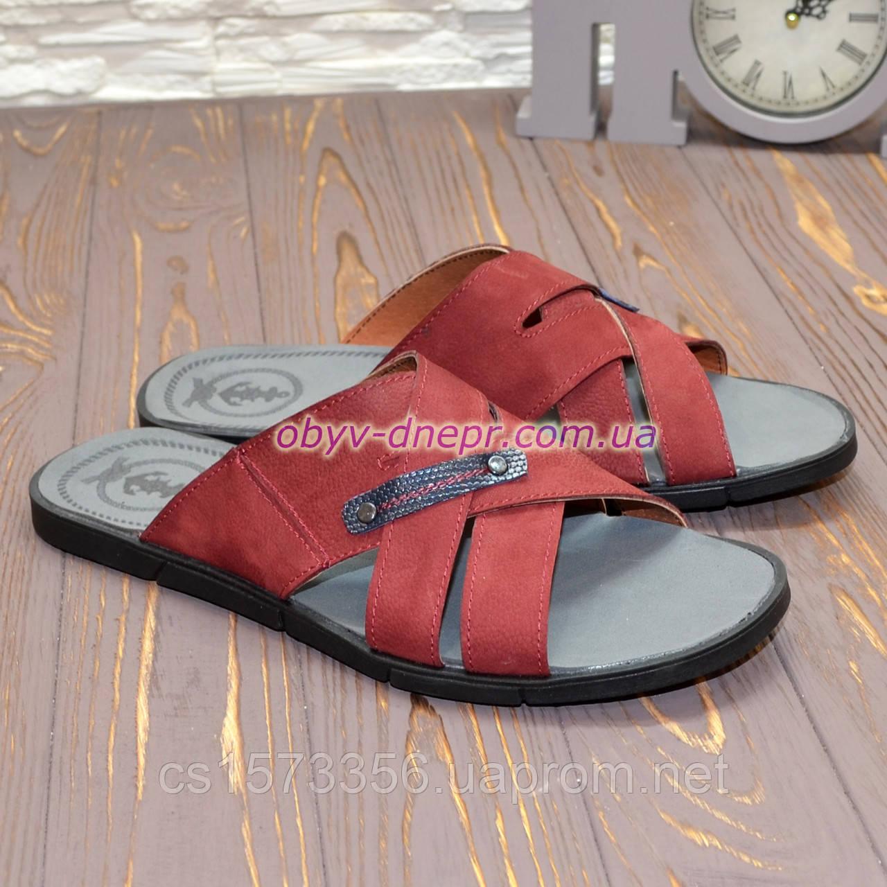 Шлепанцы мужские кожаные, цвет бордо