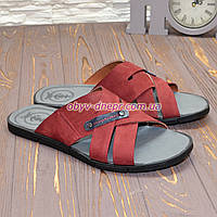 Шлепанцы мужские кожаные, цвет бордо, фото 1