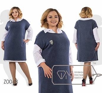 Комплект-трапеция - платье-рубашка миди из коттона с воротником-поло и платье-реглан мини из ангоры без рукавов Z0048