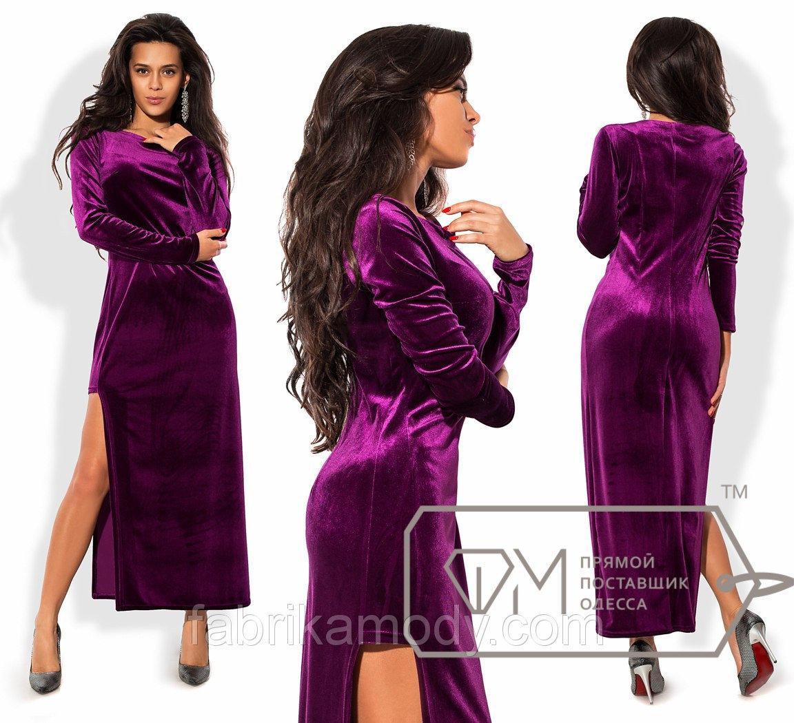 Платье макси приталенное из бархата с длинными рукавами и высоким расширенным разрезом сбоку 8320