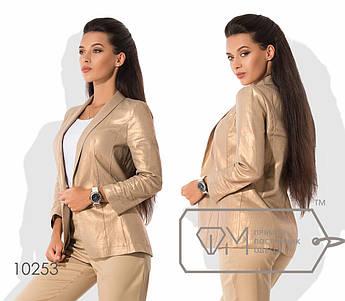 Классический прямой пиджак из льна без подклада однобортный на одной пуговице с рукавами 3/4 и воротником-шалькой 10253