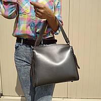 """Женская повседневная сумка на 2 ручки """"Адель Silver"""", фото 1"""