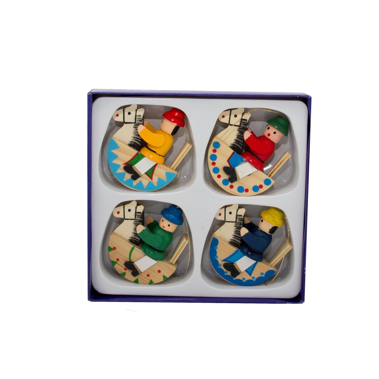 Набор новогодних игрушек - деревянные фигурки, 4 шт, 12*12 см, разноцветный, дерево (060726)