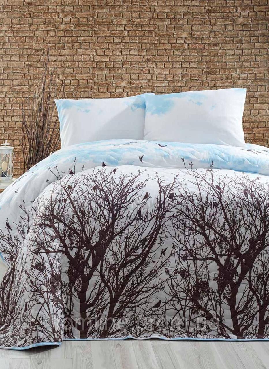 Покрывало стеганное с наволочками 200*220 Eponj Home Peace mavi голубой евро размер