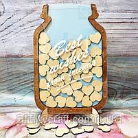 Рамка-банка для пожеланий с сердечками именная (тиковое дерево), фото 3