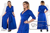 Платье в пол А-покроя на запах из коттона мемори под пояс с рукавами до локтей на отворотах, глубоким V-вырезом и расклешённой юбкой X7821