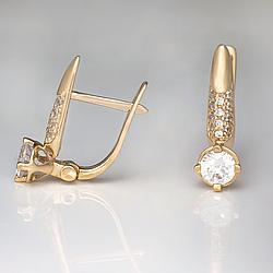 Золотые серьги с фианитами. СП311210