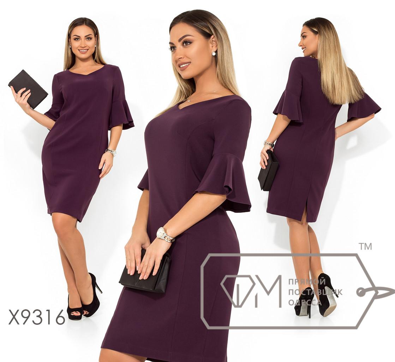 Платье-футляр из плательного крепа с V-образным вырезом на груди, фигурными вытачками, рукавами-фонарик три четверти и разрезом на юбке X9315