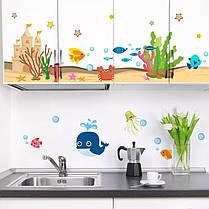 """Наклейки на стену, наклейки в ванную """"Веселый кит и морские рыбки"""" 48см*110см (лист 50*70см), фото 2"""