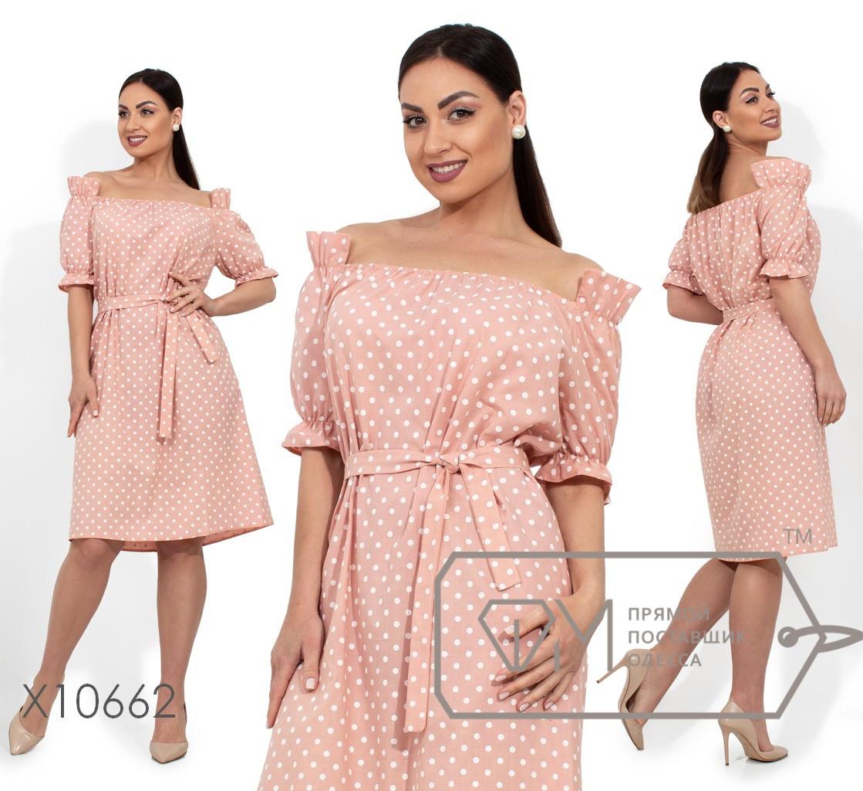 Коттоновое платье в горошек прямого кроя под пояс с открытым верхом и оборкой на коротких рукавах X10662