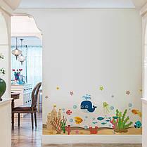 """Наклейки на стену, наклейки в ванную """"Веселый кит и морские рыбки"""" 48см*110см (лист 50*70см), фото 3"""