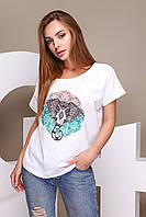 Летняя женская футболка с оригинальными принтами (р.XS, S, M, L )