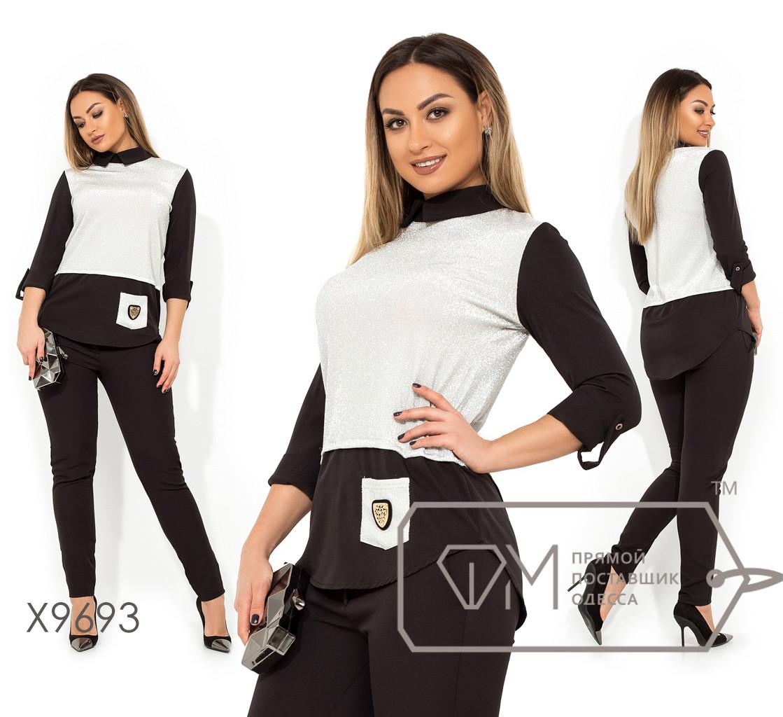 Костюм с зауженными брюками и рубашкой-обманка из костюмки и трикотажа люрекс X9693