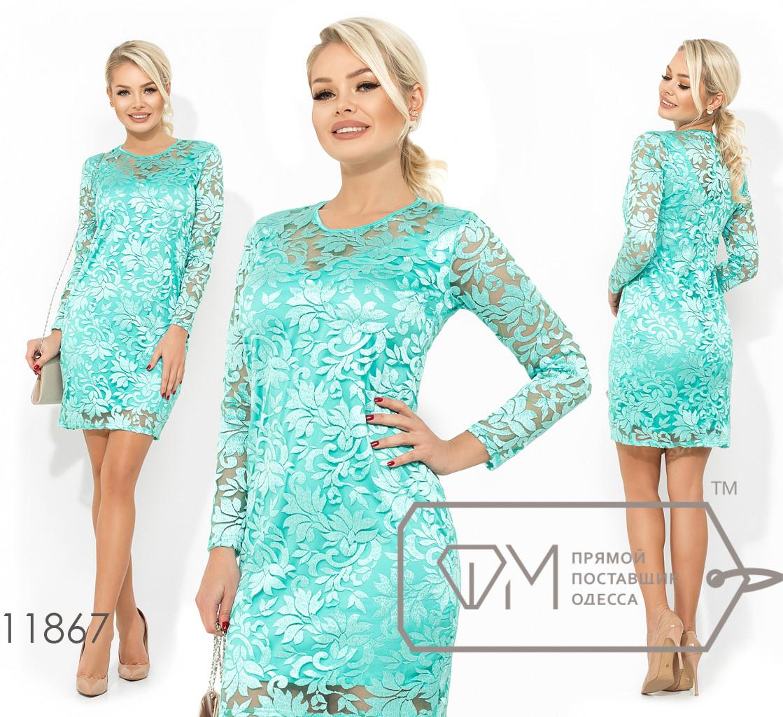 Платье-мини двухслойное, шелк Армани+3D вышивка на сетке, с круглым вырезом и укороченными рукавами 11867