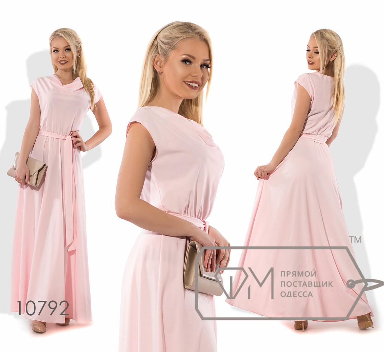 Платье в пол из софта с хомутом, коротким рукавом и резинкой по талии ( ткань просвечивается ) 10792