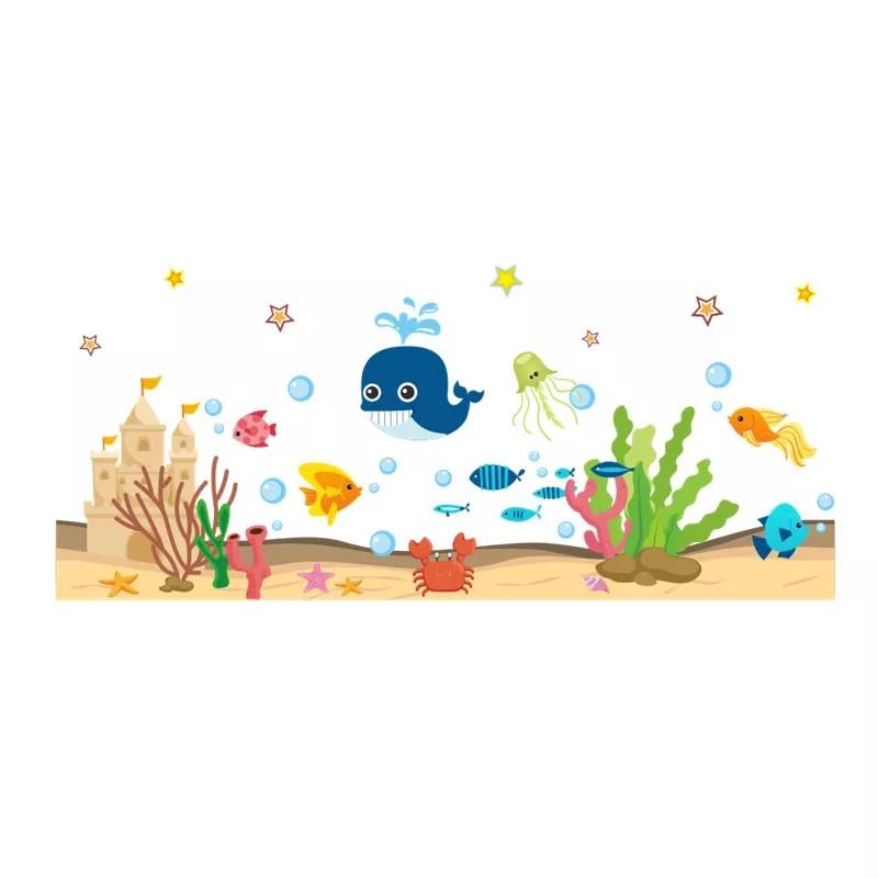 """Наклейки на стену, наклейки в ванную """"Веселый кит и морские рыбки"""" 48см*110см (лист 50*70см)"""