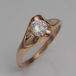 Золотое помолвочное кольцо с фианитом. КПр136